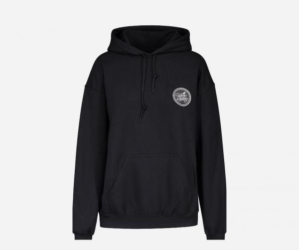 hoodie noir Femme d'Hockey, manche le hockey ne se joue pas que sur la patinoire